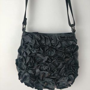 Black Rosette Ruffled Crossbody Shoulder Bag Purse